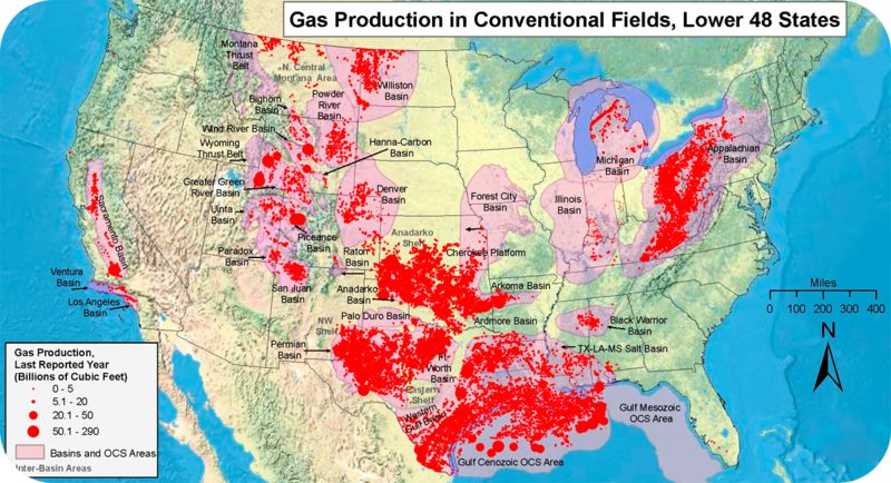 Map showing gas production in the Lower 48 United States