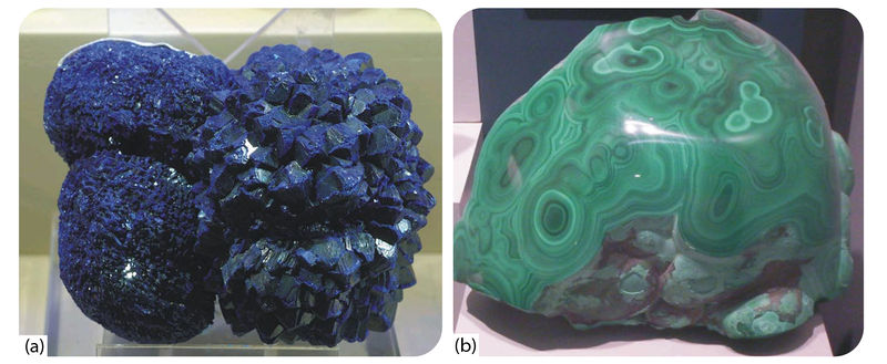 Two carbonate minerals - blue azurite and green malachite