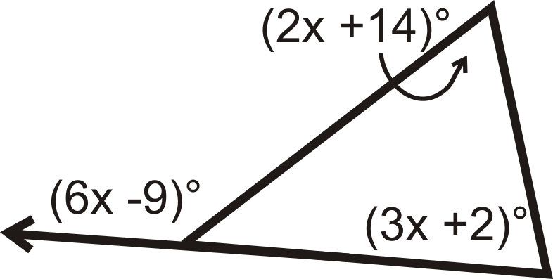Suppose the measures of the three angles of a triangle are for Exterior angle theorem